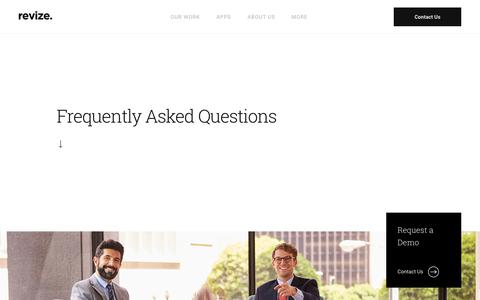 Screenshot of FAQ Page revize.com - Faqs, Content Management System, CMS, Web site, Software Product, Price, Custom Consulting - captured June 22, 2018