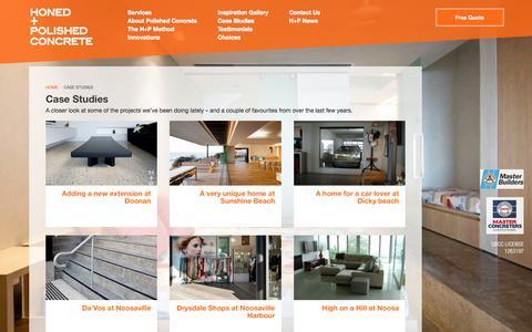 Screenshot of Case Studies Page honedandpolishedconcrete.com.au - Honed and Polished Concrete| Polished Concrete, Sunshine Coast, Noosa, Maroochydore, Caloundra, Brisbane, Australia :: Honed and Polished Concrete :: Inspiration - captured March 11, 2016