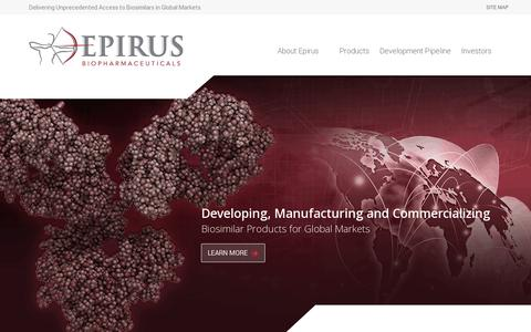 Screenshot of Home Page epirusbiopharma.com - Epirus Biopharmaceuticals - captured July 11, 2014