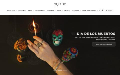 Screenshot of Home Page pyrrha.com - Pyrrha | Symbolic Talisman Jewelry - captured Oct. 23, 2015