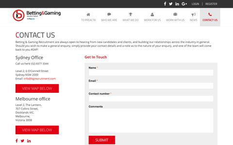 Screenshot of Contact Page bgrecruitment.com - Contact Us | Betting Gaming Recruitment - captured Oct. 10, 2017