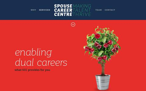 Screenshot of Services Page spousecareercentre.com - Spouse Career Centre | SERVICES - captured June 15, 2017