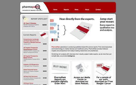 Screenshot of Contact Page pharmapeek.com - PharmaPeek Therapeutic Market Reports - captured Oct. 2, 2014