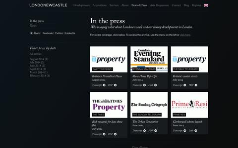 Screenshot of Press Page londonewcastle.com - Press/News — Londonewcastle - captured Sept. 30, 2014
