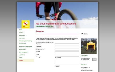 Screenshot of Contact Page redcloudmc.com - Red Cloud Marketing & Communications - Contact - captured Oct. 6, 2014