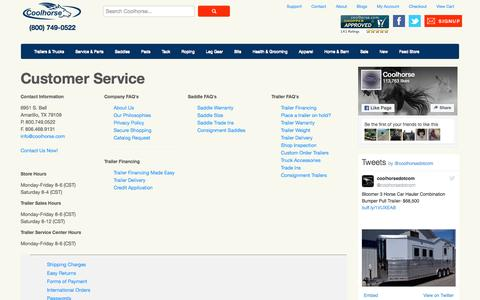 Screenshot of Support Page coolhorse.com - Customer Service - captured June 16, 2016
