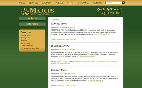 Screenshot of Press Page barefootlawyer.com - Marcus Family Law News - captured Oct. 27, 2014