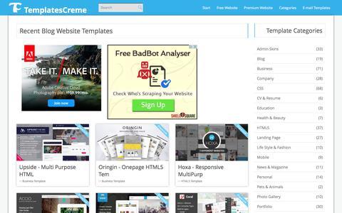 Screenshot of Blog templatescreme.com - Free Blog Website Templates - TemplatesCreme.com - captured Jan. 17, 2016