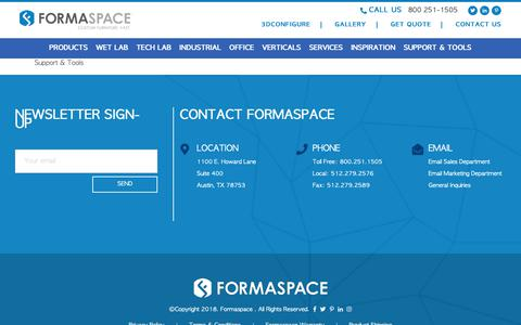 Screenshot of Support Page formaspace.com - Client Support - Product Support - Free Tools | Formaspace - captured Oct. 11, 2018