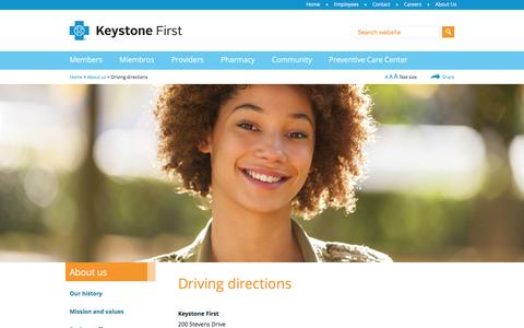 Screenshot of Maps & Directions Page keystonefirstpa.com - Driving directions - Keystone First - captured Feb. 12, 2016