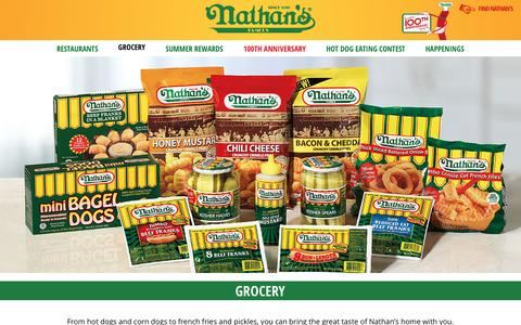 Screenshot of Products Page nathansfamous.com - Hot Dogs, Pickles, Condiments & More | Nathan's Famous - captured Sept. 23, 2016