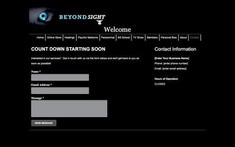 Screenshot of Contact Page beyondsightparanormal.com - Beyond Sight - Contact - captured Nov. 25, 2018