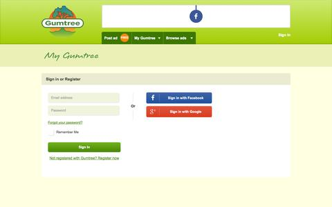 Screenshot of Login Page gumtree.com.au - Gumtree Australia | Free local classifieds. - captured Sept. 19, 2014