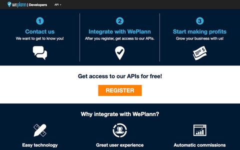 Screenshot of Developers Page weplann.com - WePlann Developers | API - captured Aug. 12, 2016