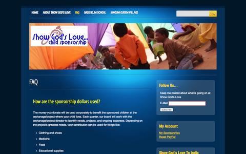 Screenshot of FAQ Page showgodslove.org - Show God's Love   FAQ - captured Oct. 9, 2014