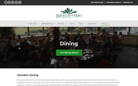 Screenshot of Hours Page brierwoodcc.com - Dining | Brierwood Country Club | Hamburg, NY - captured Oct. 6, 2018