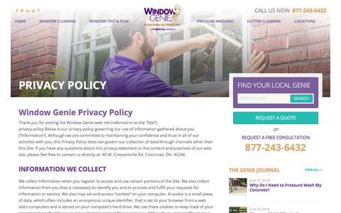 Screenshot of Privacy Page windowgenie.com - Privacy Policy - Window Genie - captured June 29, 2018