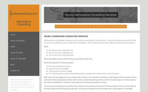 Screenshot of Signup Page prehealthadvising.com - Hourly Admissions Consulting Services - Prehealthadvising Admissions Consulting - captured Sept. 30, 2018