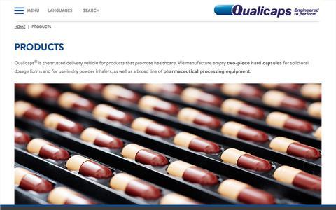 Screenshot of Products Page qualicaps.com - Qualicaps - captured July 19, 2018
