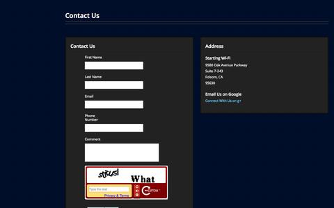 Screenshot of Contact Page Support Page startingwifi.com - Contact Us - captured Oct. 26, 2014