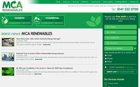 Screenshot of Press Page mcarenewables.com - News | MCA Renewables - captured July 24, 2018