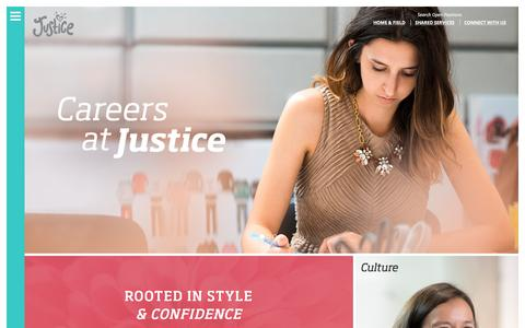 Screenshot of Home Page justiceretail.com - Home | Justice Careers - captured Feb. 16, 2016