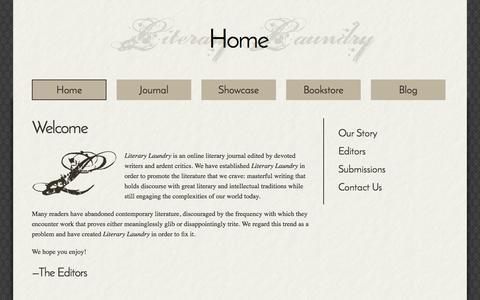 Screenshot of Menu Page literarylaundry.com - Welcome | Literary Laundry - captured Oct. 2, 2014