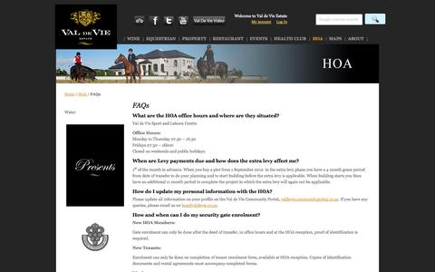 Screenshot of FAQ Page valdevie.co.za - FAQ: Homeowners Association: Val de Vie Estate - captured Oct. 27, 2014
