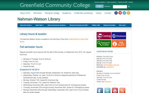Screenshot of Hours Page mass.edu - Nahman-Watson Library  |  Library hours & location - captured Oct. 3, 2014