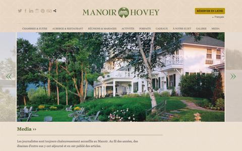 Screenshot of Press Page manoirhovey.com - Manoir Hovey - Media - captured Sept. 30, 2014