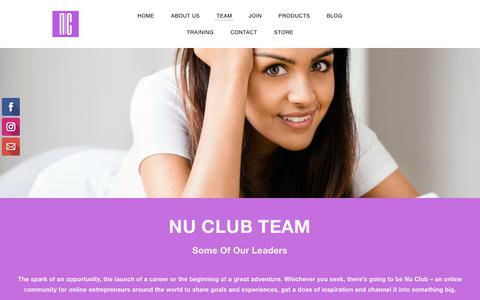 Screenshot of Team Page thenuclub.com - Team - Nu Club - captured Jan. 15, 2018