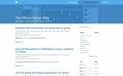 Screenshot of Blog twitter.com - Twitter Blogs - captured Dec. 4, 2015