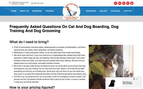Screenshot of FAQ Page amarillodogboarding.com - Frequently Asked Questions On Cat And Dog Boarding, Dog Training And Dog Grooming - captured Oct. 18, 2018