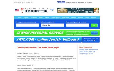 Screenshot of Jobs Page jewishyellow.com - Career Opportunities  - Jewish, Jewish Guide, Jewish Directory, Jewish Classified, Kosher, Kosher Guide - captured Sept. 23, 2014