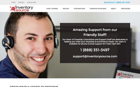 Screenshot of Support Page inventorysource.com - Inventory Source - Technical Support - captured Nov. 25, 2015
