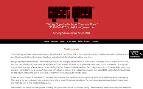 Screenshot of Testimonials Page closetqueen.com - Testimonials - Closet Queen - captured July 19, 2018