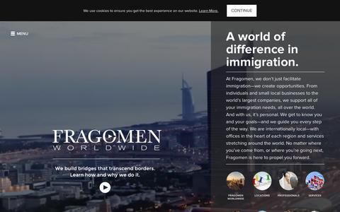 Screenshot of Home Page fragomen.com - Home | Fragomen Worldwide - captured Feb. 24, 2016