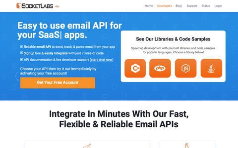 Screenshot of Developers Page socketlabs.com - SocketLabs | Send Email API | API for Sending Email On Any Platform - captured Nov. 8, 2018