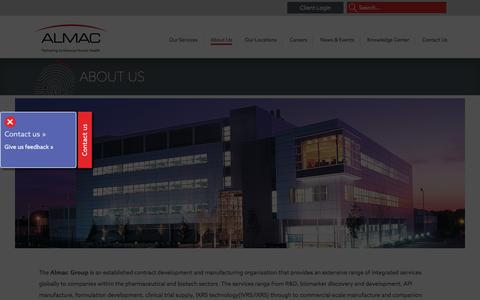 Screenshot of About Page almacgroup.com - About Us - Almac - captured Dec. 24, 2015