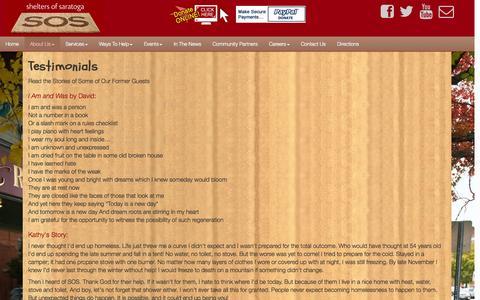 Screenshot of Testimonials Page sheltersofsaratoga.com - Testimonials - Shelters of Saratoga - captured Oct. 9, 2014