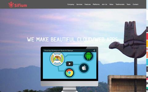 Screenshot of Home Page sifium.co - Sifium   Cloud Apps Zen - captured Sept. 4, 2015