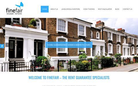 Screenshot of Home Page finefair.com - Finefair Ltd - 1-5 Years Guaranteed Rent | Property Company London - captured Oct. 13, 2017