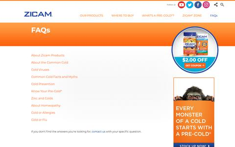 Screenshot of FAQ Page zicam.com - ZICAM® FAQ - About Homeopathy: Homeopathy Principles, How It Works, Reasons For Homeopathic Medicine - captured Oct. 19, 2018