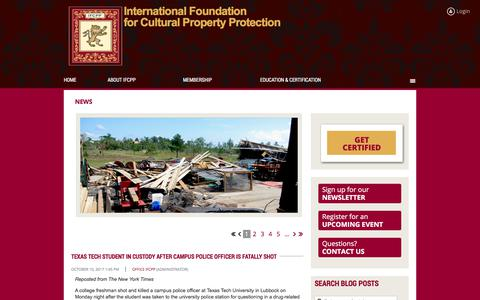 Screenshot of Press Page ifcpp.org - IFCPP News — articles, bulletins, and industry updates related to cultural property protection concerns - captured Oct. 15, 2017
