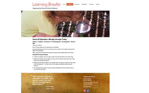 Screenshot of Hours Page learningbrooke.com - Learning Brooke | Hours - captured Sept. 29, 2014