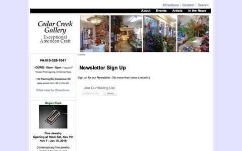 Screenshot of Signup Page cedarcreekgallery.com - Newsletter Sign Up | Cedar Creek Gallery - captured Dec. 7, 2015