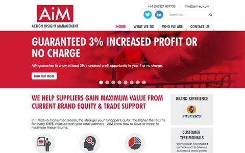 Screenshot of Home Page actioninsightmanagement.com - Trade Promotion Optimisation/Planning tools for FMCG Brand - captured Oct. 4, 2014