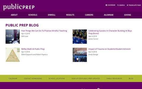 Screenshot of Blog publicprep.org - Contact Admissions - Public Prep - captured July 24, 2018