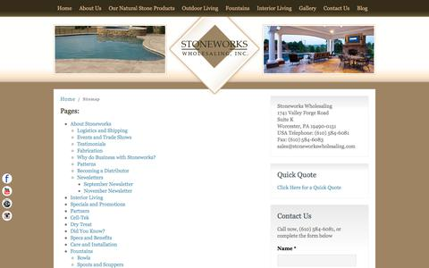 Screenshot of Site Map Page stoneworkswholesaling.com - Sitemap - Stoneworks Wholesaling, Inc. - captured Oct. 25, 2017
