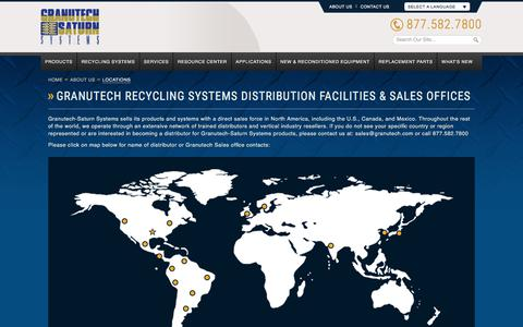 Screenshot of Locations Page granutech.com - Granutech Recycling Systems Distribution Facilities - Sales Offices | Granutech-Saturn Systems - captured July 23, 2018